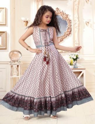 Cotton baby pink thread work wedding suit