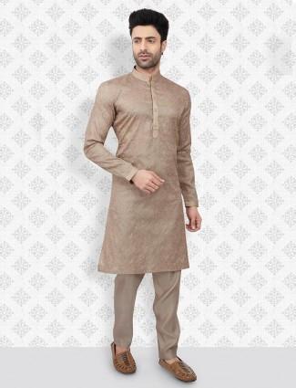 Cotton brown color festive wear kurta suit