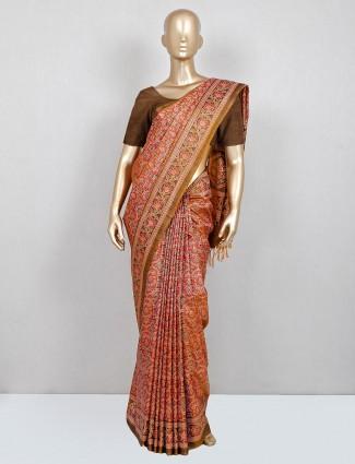 Cotton brown saree for women