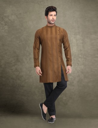 Cotton brown stripe mens kurta suit