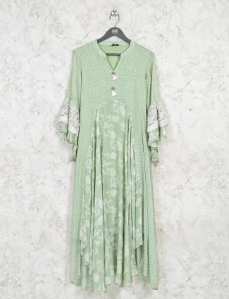 Cotton casual wear pista green kurti