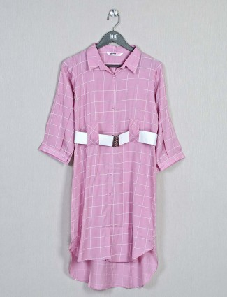 Cotton checks top in pink