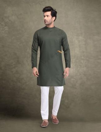 Cotton dark green traditional kurta suit