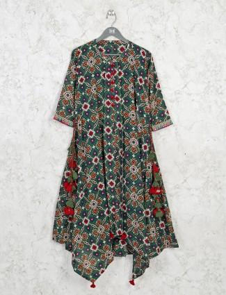 Cotton green printed kurti for casual wear