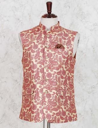 Cotton jute peach printed mens waistcoat