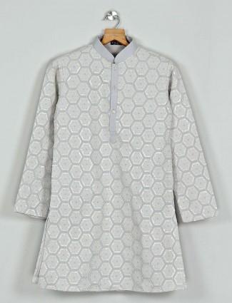 Cotton kurta suit in pista green for boys