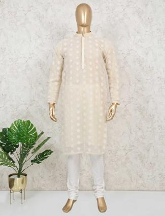 Cotton light yellow festive wear mens kurta suit
