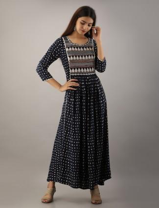Cotton navy casual wear kurti for wonderful lady