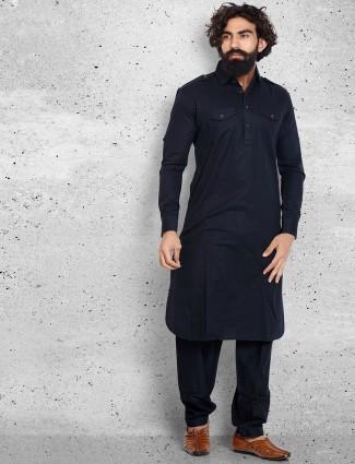 Cotton navy plain pathani suit