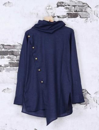 Cotton navy solid kurta suit
