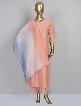 Cotton palazzo suit design in peach