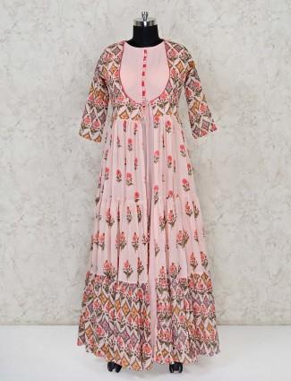 Cotton pink anarkali printed suit for festive wear