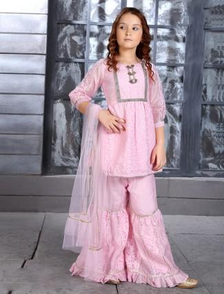 Cotton pink lakhanvi work punjabi sharara suit