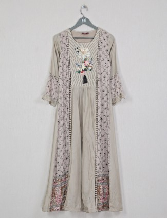 Cotton printed kurti for women in olive casual wear