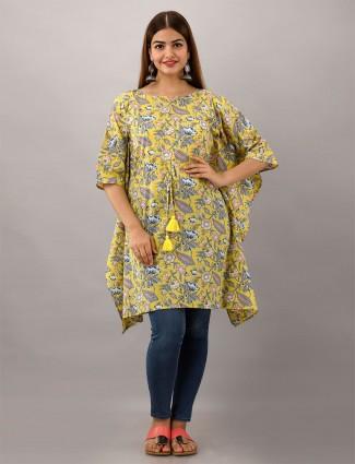 Cotton printed lemon yellow kurti for casual wear