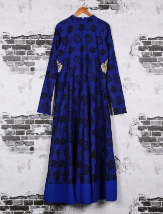 Cotton printed long kurti in blue color