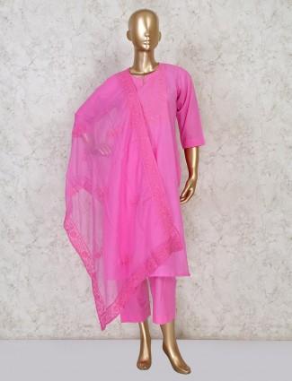 Cotton punjabi pant suit design in pink