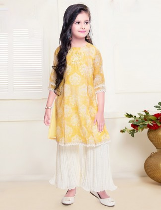 Cotton quarter sleeves palazzo suit in yellow