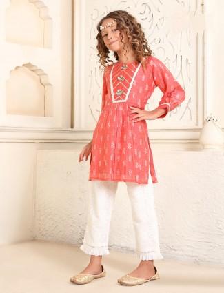 Cotton red printed pant salwar suit