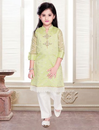 Cotton salwar suit in green