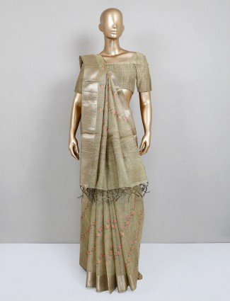 Cotton saree for festive in Olive