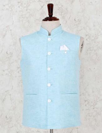 Cotton linen aqua solid waistcoat in party