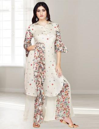 Cotton silk beige party punjabi palazzo suit