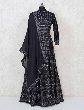 Cotton silk black printed floor length anarkali suit