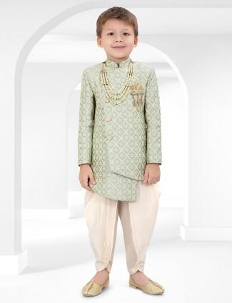 Cotton silk fabric green color indo western