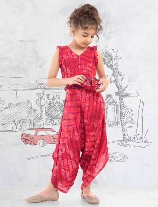 Cotton silk girls wear dhoti suit in magenta