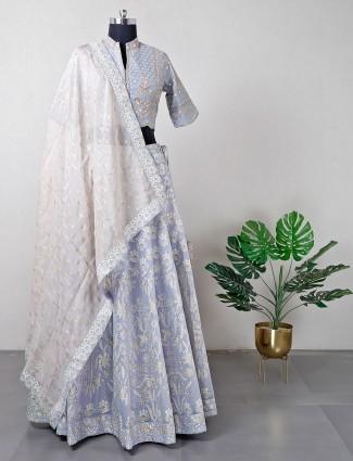 Cotton silk grey wedding lehenga choli