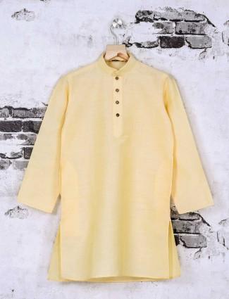 Cotton silk light yellow kurta suit