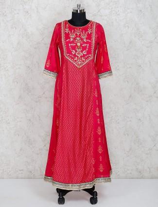 Cotton silk long salwar suit in magenta color