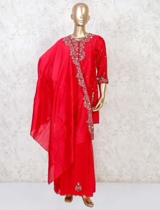 Cotton silk magenta punjabi sharara suit