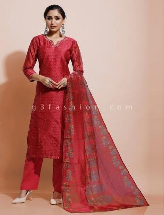 Cotton silk maroon kurti set