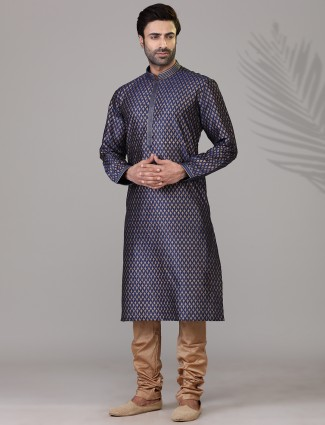 Cotton silk navy printed mens kurta suit