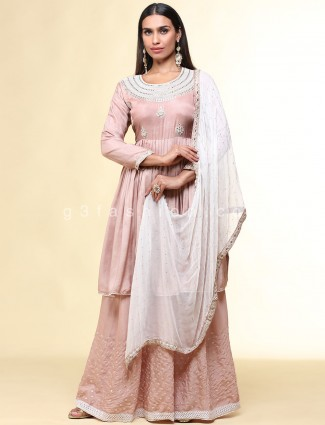 Cotton silk peach palazzo suit for wedding