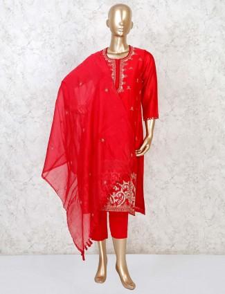 Cotton silk punjabi pant suit in red