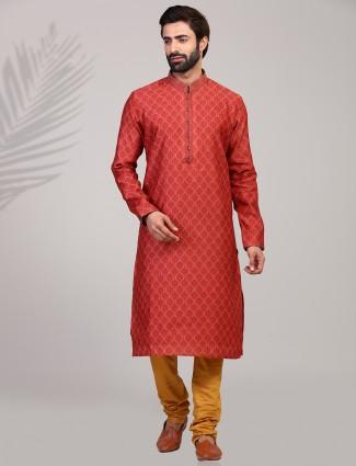 Cotton silk red printed festive function kurta suit