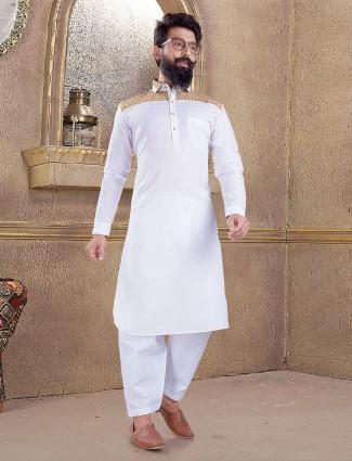Cotton silk white color pathani suit