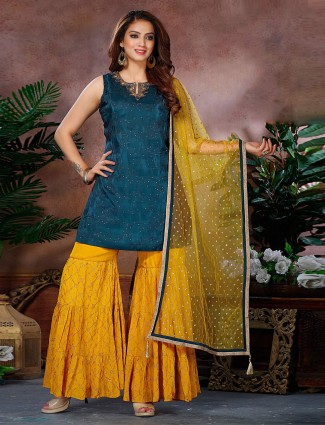 Cotton silk yellow and navy sharara suit