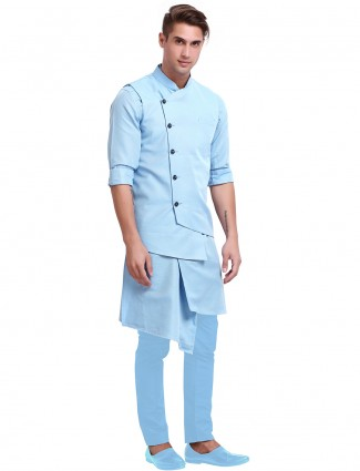 Cotton solid blue waistcoat kurta set for mens