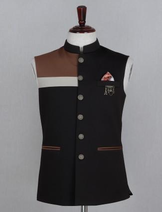 Cotton waistcoat in solid dark brown
