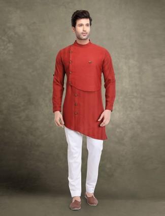 Cotton wine maroon stripe kurta suit