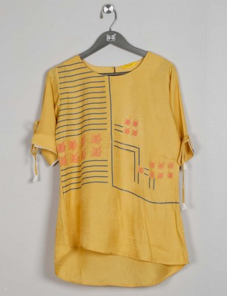 Cotton yellow latest casual wear top
