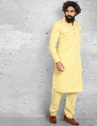 Cotton yellow solid pathani suit