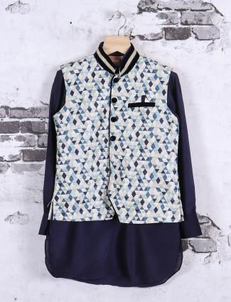 Cream and navy printed waistcoat set