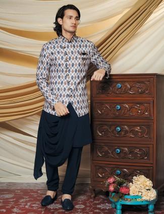 Cream and navy silk waistcoat set for mens