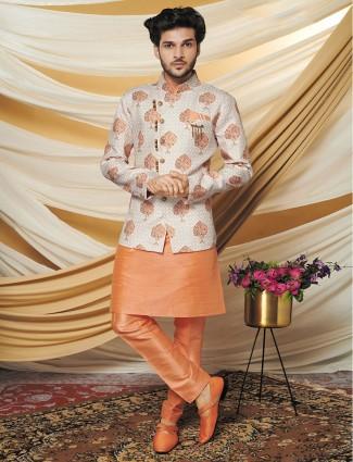 Cream and orange work raw silk mens waistcoat set