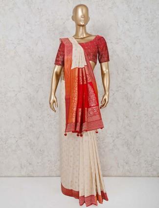 Cream and red combination in cotton silk saree
